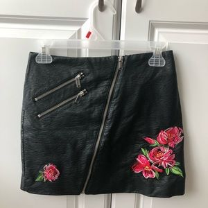 Flower embroidered faux leather skirt